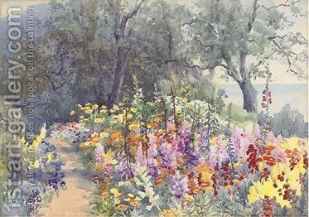A coastal garden in full bloom by English School - Reproduction Oil Painting