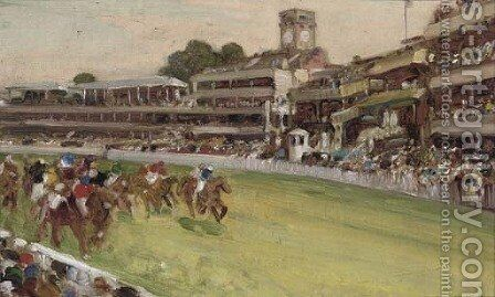 A day at the races, traditionally identified as Goodwood by English School - Reproduction Oil Painting