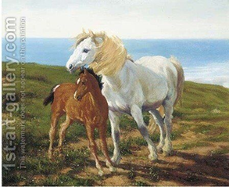 A grey pony and chestnut foal in a coastal landscape by English School - Reproduction Oil Painting