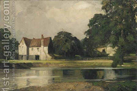 A peaceful stretch of the river 2 by English School - Reproduction Oil Painting
