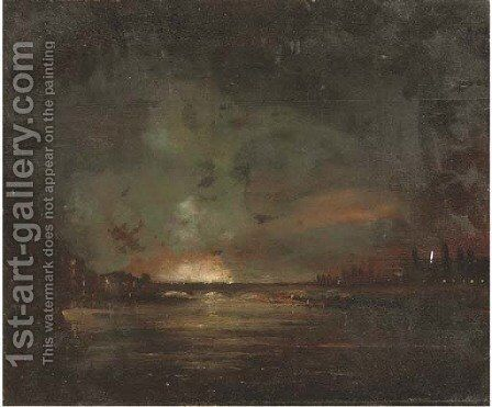A river landscape at night, thought to be the Thames, with a fire beyond by English School - Reproduction Oil Painting