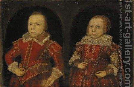 Double portrait of a boy aged eight and a girl aged six by English School - Reproduction Oil Painting
