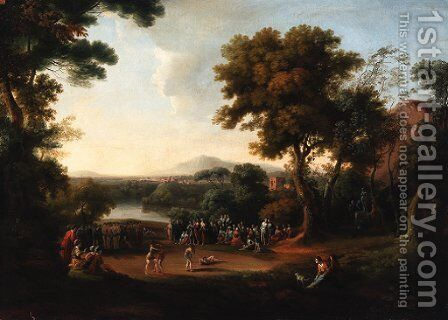 An Italianate landscape with a wrestling match and spectators in the foreground by English School - Reproduction Oil Painting