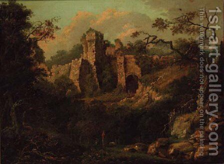 A ruined castle in a wooded landscape, figures in the foreground by English School - Reproduction Oil Painting