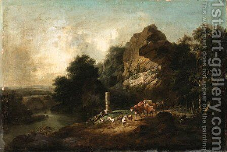 A Landscape with a Shepherd resting on a Riverbank by English School - Reproduction Oil Painting