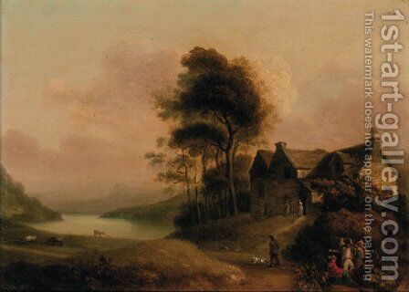 Figures resting by a track before a cottage in a wooded lake landscape by English School - Reproduction Oil Painting