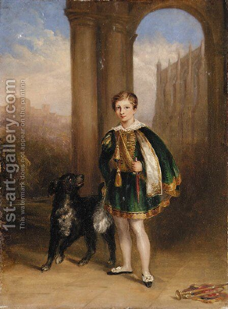 A boy in montem dress, with a dog at his side by Eton College chapel, with Windsor Castle beyond by English School - Reproduction Oil Painting
