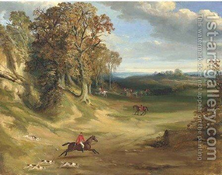 A hunting scene, in a wooded landscape by English School - Reproduction Oil Painting