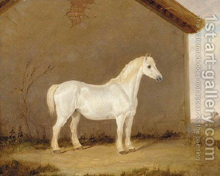 A grey horse beside a barn by English School - Reproduction Oil Painting