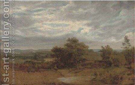 A barn in an extensive landscape by English School - Reproduction Oil Painting