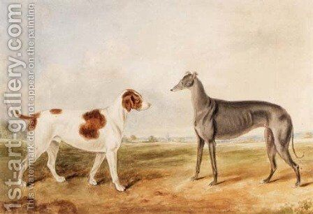 A Foxhound and a Greyhound in an extensive Landscape by English School - Reproduction Oil Painting