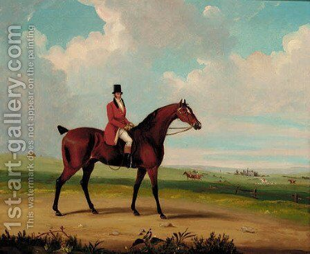 A huntsman on horseback with a hunt beyond by English School - Reproduction Oil Painting