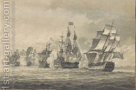A naval engagement with a Britsh man o'war firing a broadside by English School - Reproduction Oil Painting
