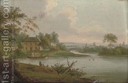 A river landscape with a cottage and elegant figures on a boat by English School - Reproduction Oil Painting