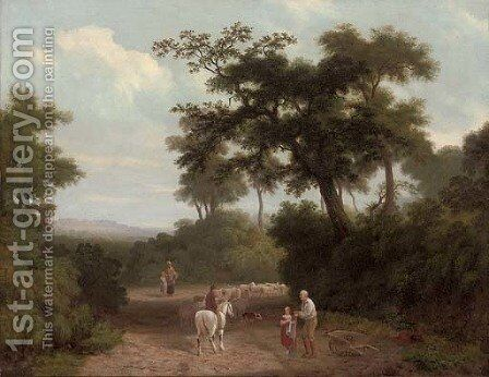 A wooded landscape with figures and a herdsman with a flock of sheep in a clearing, a castle beyond by English School - Reproduction Oil Painting