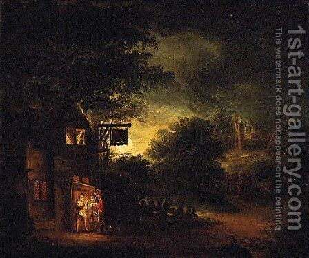 Figures by a moonlit Tavern by English School - Reproduction Oil Painting