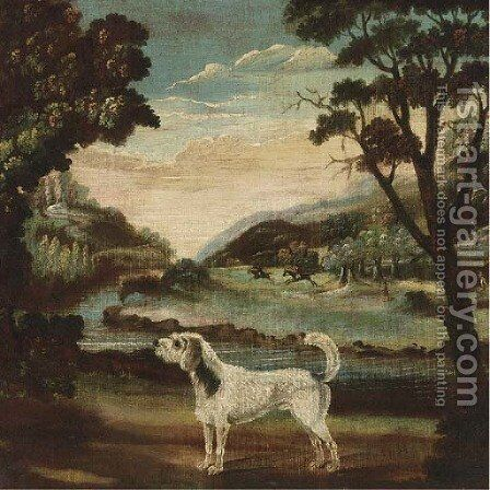 A hound in a landscape, a hunt beyond by English School - Reproduction Oil Painting