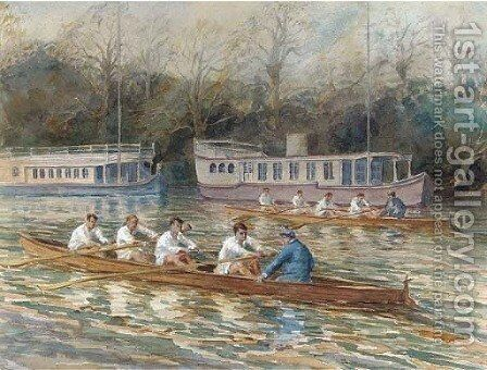 Balliol College Four rowing past houseboats by English School - Reproduction Oil Painting