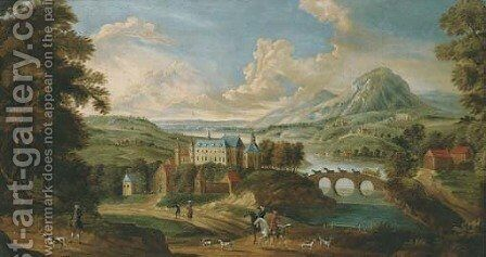 An extensive mountainous river landscape with a castle by a bridge, huntsmen and hounds in the foreground by English School - Reproduction Oil Painting