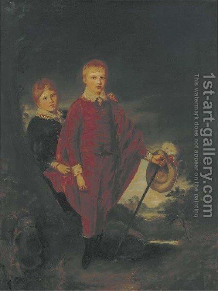 A double portrait of two boys, small full-length, in Van Dyck dress by English School - Reproduction Oil Painting