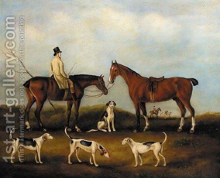 A huntsman on horseback with hounds in a landscape by English School - Reproduction Oil Painting