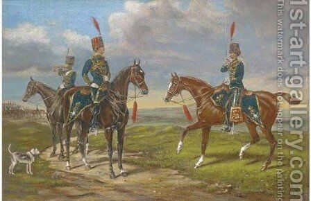 Hussars on manoeuvres by English School - Reproduction Oil Painting