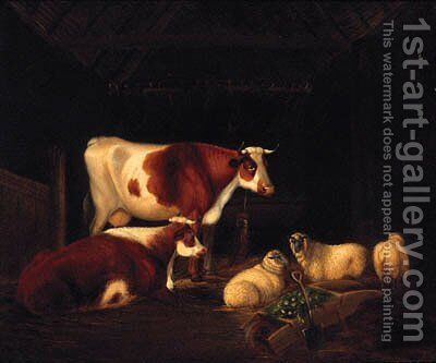 Cattle And Sheep Resting In A Barn by English School - Reproduction Oil Painting