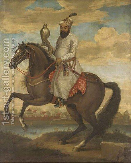 Equestrian portrait of an Indian nobleman by English School - Reproduction Oil Painting