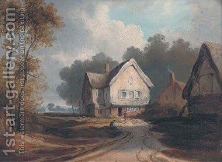 Figures before cottages, traditionally identified as Hampstead Heath by English School - Reproduction Oil Painting