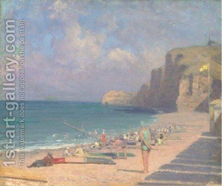 A summer's day at the beach by English School - Reproduction Oil Painting
