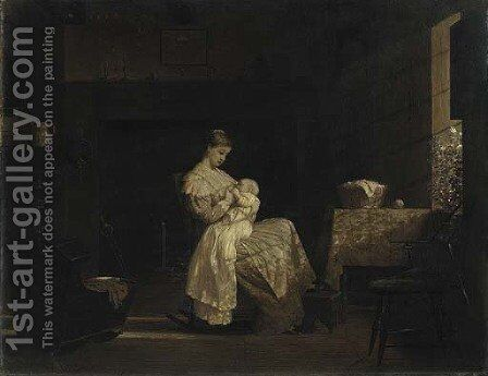 Mother Nursing a Child in an Interior by Enoch Wood Perry - Reproduction Oil Painting