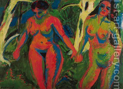 Zwei nackte Frauen im Wald by Ernst Ludwig Kirchner - Reproduction Oil Painting