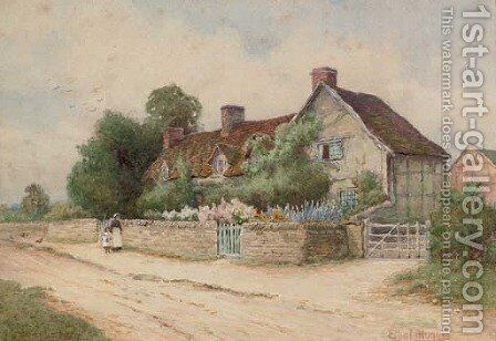 Mary Arden's cottage by Arthur Hughes - Reproduction Oil Painting