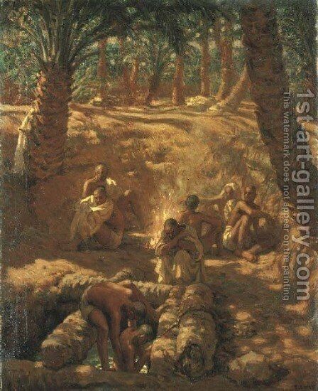 Berbers at an Oasis Well by Alphonse Etienne Dinet - Reproduction Oil Painting