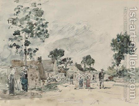 Village breton by Eugène Boudin - Reproduction Oil Painting