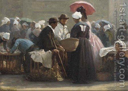 Morning banter at the market by Jacques-Eugene Feyen - Reproduction Oil Painting