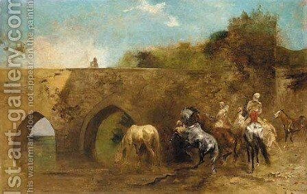 Bedouins watering their horses by Eugene Fromentin - Reproduction Oil Painting
