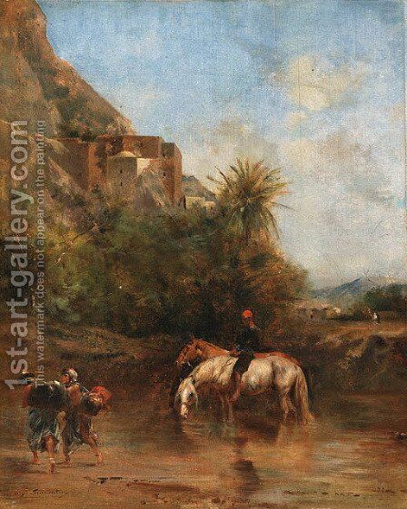 Horses watering, North Africa by Eugene Fromentin - Reproduction Oil Painting