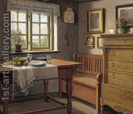 A bowl of apples on a partially draped table before a sunlit window by Carl Frederik Sorensen - Reproduction Oil Painting
