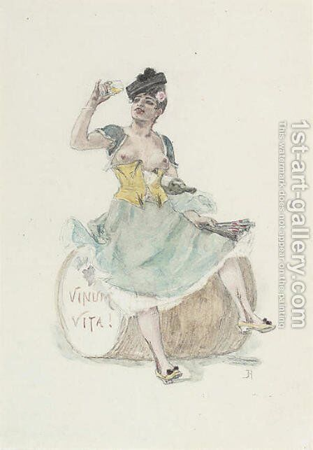 Vinum vita by Felicien Rops - Reproduction Oil Painting