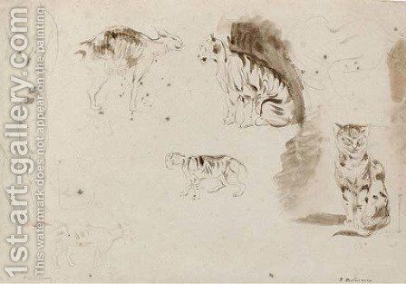 Studies of cats, other felines and two female nudes seen from behind by Eugene Delacroix - Reproduction Oil Painting