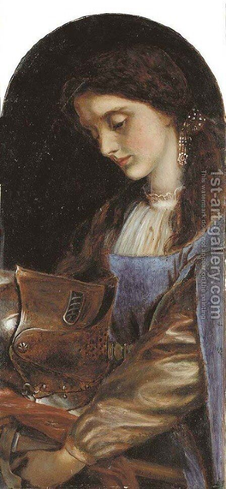 Elaine with the Armour of Launcelot by Arthur Hughes - Reproduction Oil Painting