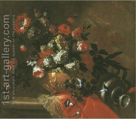 Flowers in a sculpted vase on a draped ledge by (after) Jean-Baptiste Monnoyer - Reproduction Oil Painting