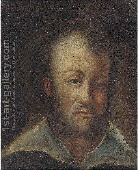 Portrait of a man, bust-length by (after) Annibale Carracci - Reproduction Oil Painting