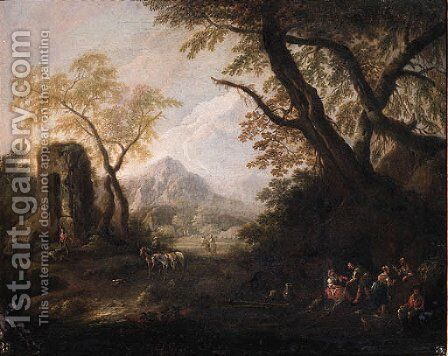 Gypsies on a river-bank in an Italianate landscape by (after) Francesco Zuccarelli - Reproduction Oil Painting