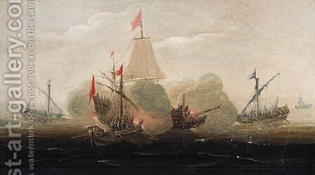 A naval engagement with barges attacking a man-o'-war by (after) Aart Van Antum - Reproduction Oil Painting