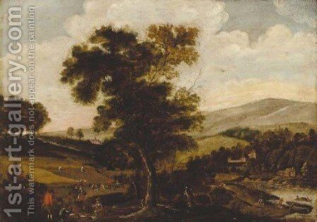 Peasants harvesting in a summer landscape by (after) Abel Grimmer - Reproduction Oil Painting