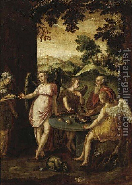 Abraham and the Three Angels by (after) Abraham Bloemaert - Reproduction Oil Painting