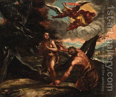 The Expulsion of Adam and Eve by (after) Abraham Bloemaert - Reproduction Oil Painting