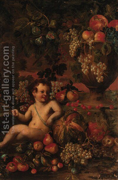 A putto amongst fruit in a landscape by (after) Abraham Brueghel - Reproduction Oil Painting